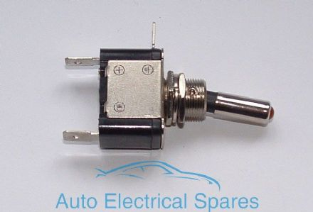 2445 Toggle switch 2 position 3 terminals METAL CHROME with LED RED